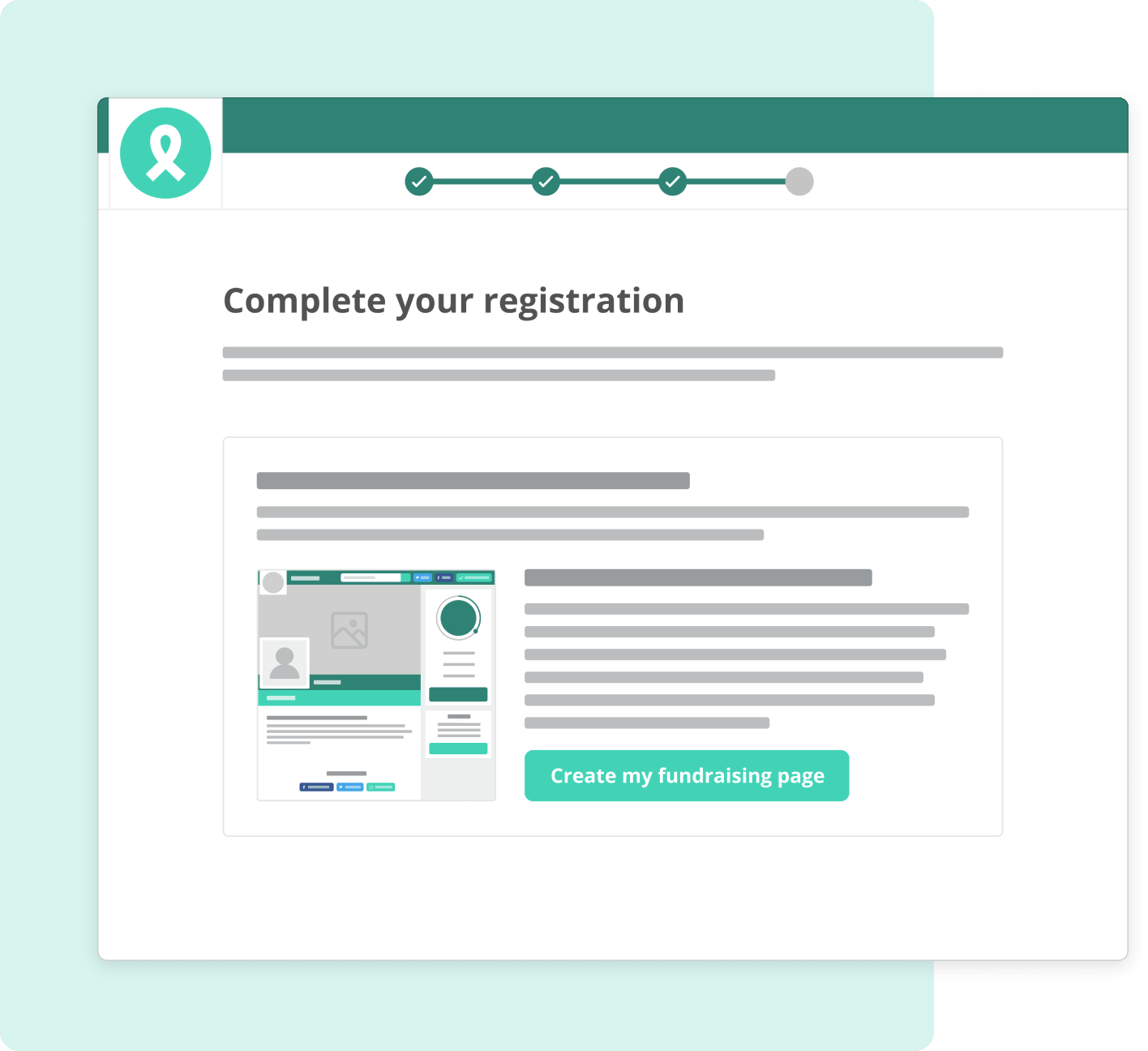 Screenshot of automatic fundraising page creation with event registration