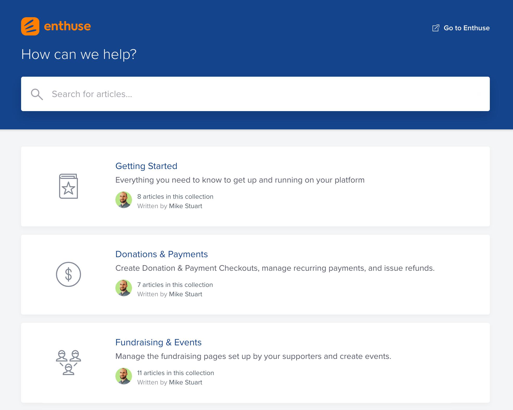 Enthuse intercom screenshot - 24/7 knowledge base